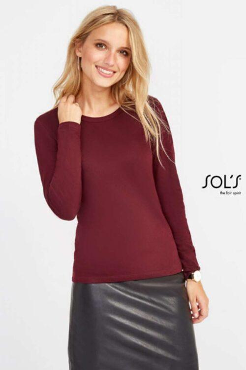 Ženska majica dolg rokav-bordo