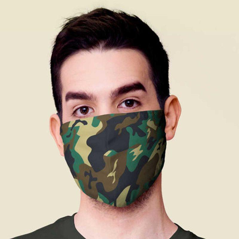 DVOSLOJNA pralna maska CAMOUFLAGE-zelena