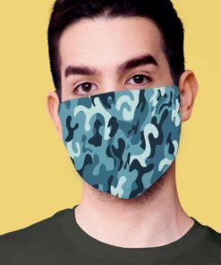 DVOSLOJNA pralna maska CAMOUFLAGE-modra